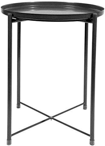 H-CAR Sofa Table,End Side Tables, Small Modern Tray Metal Side Table Side Table Coffee Table - Easy To Assemble, 44 * 44 * 52 CM Snack Table (Color : Black)