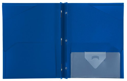 """Five Star 2-Pocket Folder, Stay-Put Folder, Plastic Colored Folders with Pockets & Prong Fasteners for 3-Ring Binders, For Home School Supplies & Home Office, 11"""" x 8-1/2"""", Blue (72115) Photo #2"""