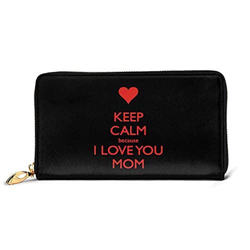 DJNGN Gardez Votre Calme Parce Que Je t'aime Maman Portefeuille en Cuir avec 12 emplacements pour Cartes Mode et Personnalisation