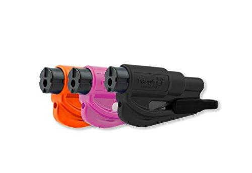 Resqme-Familienpackung, 3 Stück, Das Original Auto-Ausbruchs-Hilfswerkzeug, 2-in-1 Gurtzerschneider und Fenterscheibenzertrümmerer, Hergestellt in USA, schwarz, pink, orange