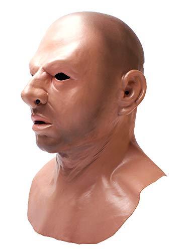 LEKA NEIL Realistic Bald Head Man Mask Halloween Masquerade Mask Novelty Costume Party Latex Full Head Mask