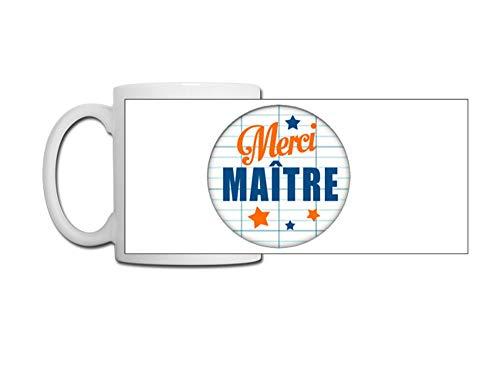 Linyatingoshop - Taza de café con texto en inglés 'Merci Maître - Taza original de desayuno