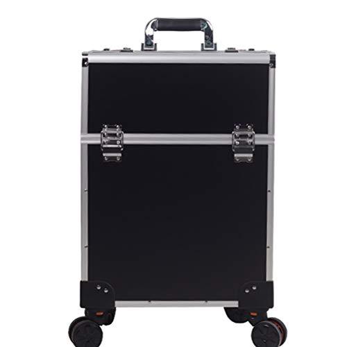 Maquillage Valise Trolley Vanity Train grand chariot avec 4 Universal Wheel coiffeur esthéticienne manucure outils professionnels avec mot de passe Lock,5