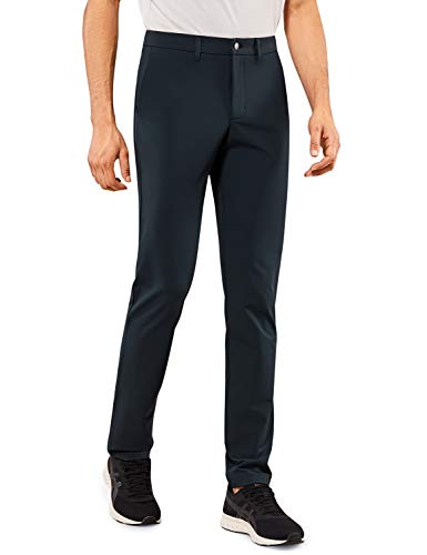 CRZ YOGA Men's Travel Pants - 32''/34'' Slim Fit - Stretch Quick Dry Thick Golf Work Pant with Pockets True Navy 34W x 32L