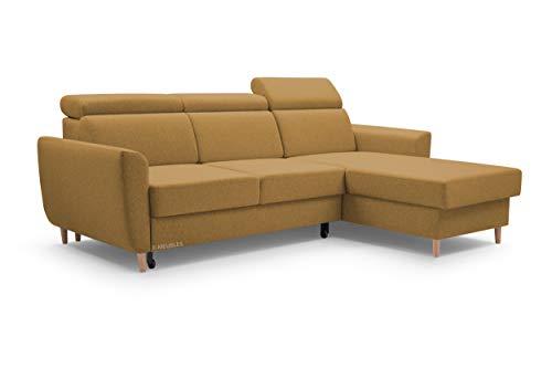 MOEBLO Sofa mit Schlaffunktion und Bettkasten, Couch für Wohnzimmer, Schlafsofa Federkern Sofagarnitur Polstersofa Wohnlandschaft mit Bettfunktion - Augusto (Gelb, Ecksofa Rechts)