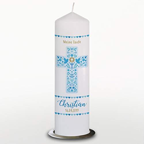 Taufkerze Junge mit Name und Datum Kreuz Ornamente Blau, Kommunionkerze personalisiert, 29cm, Mit Kerzenteller