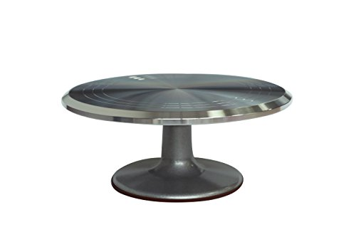 "12"" Revolving Cake Decorating Turntable Stand - Professional Aluminum & Non-Slip Trademark Innovations"