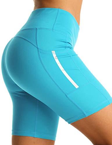 Rocorose Damen Athletic Running Shorts Bauchweg Schweißfrei Bequem Casual Sommer Yoga Shorts Lake Blue M