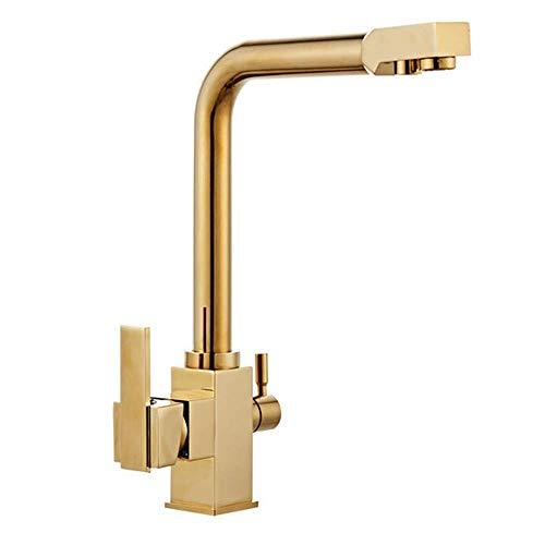Grifo de filtro de agua de 3 vías 360 & deg;Grifo de cocina de latón con rotación, mezclador de doble palanca, grifo para fregadero, grifo para fregadero para sistemas de ósmosis, sistemas de agua po