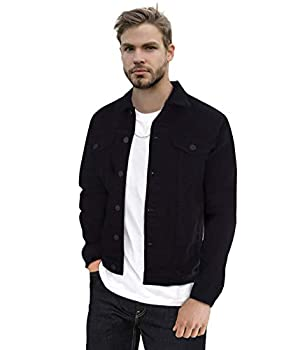 X RAY Mens Denim Jacket Washed Casual Trucker Jean Jacket for Men Black X-Large