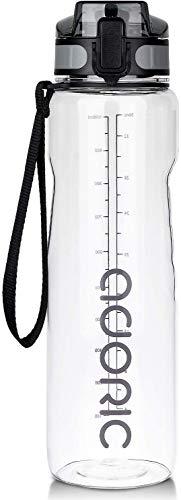ADORIC Borraccia Sportiva, Bottiglia d'Acqua Sportiva da Palestra con Filtro - No BPA tossica con Cerniera Coperchio (Trasparente)
