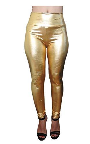 Lovelegis Leggings metálicos para Mujer - Pantalones para Mujer - niña - Sexy - Dorado - Dorado - Brillante - Aspecto húmedo - Cuero ecológico - Talla única - Treggings - Idea de Regalo