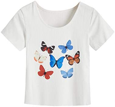 Romwe Women s Casual Butterfly Print Short Sleeve Crop Top Tee Shirts Blouse White XL product image