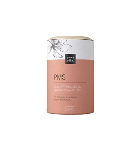PURE ELLA PMS, Vitalstoffkomplex für Frauen mit prämenstruellem Syndrom, enthält Vitamin B6, Mönchspfeffer und Frauenmantel, unterstützt das emotionale Gleichgewicht (60 Kapseln)