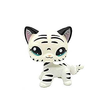 Small pet Shop OOAK lps Toys White Black Tiger Cat Hand Painted  10