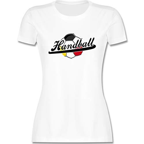 Handball WM 2021 - Handball Deutschland - L - Weiß - Handball Tshirt Damen - L191 - Tailliertes Tshirt für Damen und Frauen T-Shirt