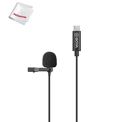 BOYA BY-M3-OP Lavalier Microfoon met Type-C-connector & Windkap,speciaal ontworpen voor DJI OSMO Pocket 3-assige cardanische stabilisator,Tot 24 bits / 96 kHz resolutie, plug and play