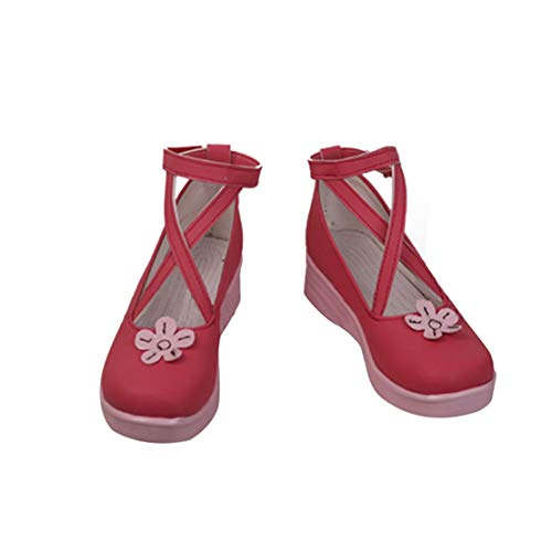 DUNHAO COS Anime Women's Hatsune Miku Sakura Miku Spring Miku Red Cosplay School Custom Shoes Boots Male US 9/EU43