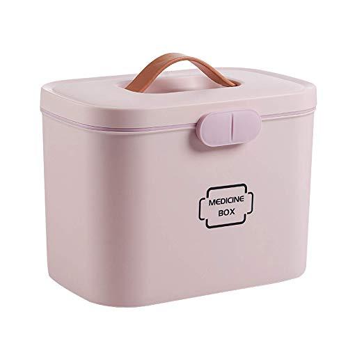 GAXQFEI Caja de medicina de 2 niveles, caja de primeros auxilios, contenedores de almacenamiento de plástico, con bandeja extraíble y asa portátil, 28,5 x 18 x 21 cm, color rosa