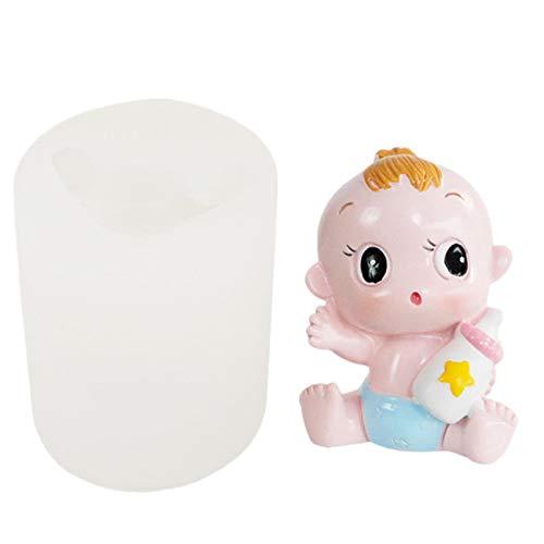 flouris Molde para bebé 3D que sostiene una botella Molde de silicona para bebé hecho a mano Moldes de jabón suave Baby Shower Candle Mold Birthday Party Fondant Cake Topper Herramientas de de