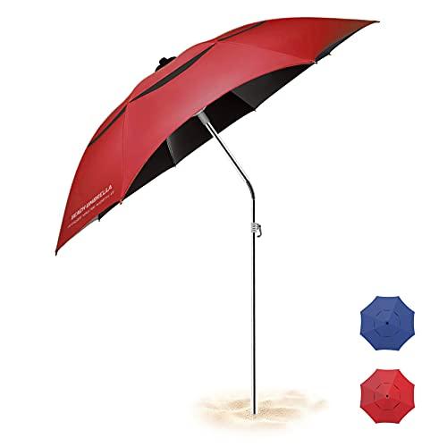 BESR Ombrellone da Sole Pesca Spiaggia, Anti-UV, Antivento Impermeabile Portatile, Asta Regolabile...