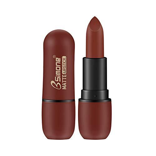 ETbotu Lippenstift - wasserfester,matter Lippenstift,dauerhafter,matter Samtlippenstift 07# rotbraun