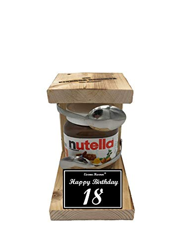 * Happy Birthday 18 Geburtstag - Eiserne Reserve ® Löffel mit Nutella 450g Glas - Das ausgefallene originelle lustige Geschenk - Die Nutella - Geschenkidee