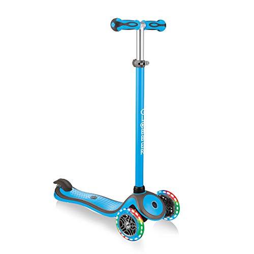 Globber Kinder Primo Plus mit Licht bis Rädern Scooter, Kinder, Primo Plus with Light Up Wheels, himmelblau