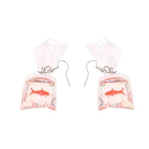 PRETYZOOM Aretes para Mujer Collar Estético Aretes de Pescado Cuelgan Hombres- Bolsa de Agua Pendiente Colgante Bolsa de Agua Brocado Pendientes de Carpa Pendientes de Resina Transparente