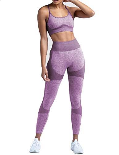 SUPJADE Buscando Workout Clothes for Women 2 Piece Lavender High Waist Seamless Leggings+Sports Bra Skinny Tights Gym Clothes for Women (Lavender, Medium)