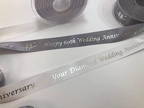 Feliz aniversario de boda, 25 mm, cinta de satén plateada con impresión en plata metálica, 1 metro de longitud