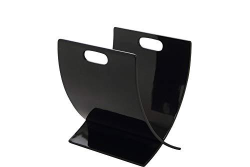 AC Design Furniture 39377 Mobiletto portariviste Rasmus, in legno laccato, 24 x 37 x 33 cm, Nero (Schwarz)