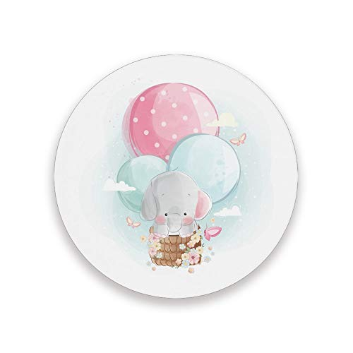 ZHIMI Coasters Elefant mit Ballons Absorbent Stone Coasters Round Drink Ceramic Coasters Set with Non-slip Cork Base Kitchen Decor for Mugs Cups Holders Mats 1 Pack