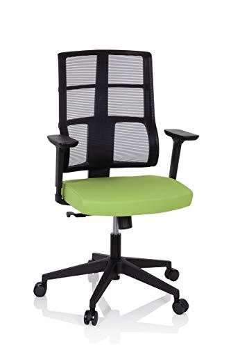 hjh OFFICE 810028 Profi Bürostuhl SPINIO Stoff Schwarz/Grün Büro Drehstuhl mit Netzrücken, Rückenlehne höhenverstellbar
