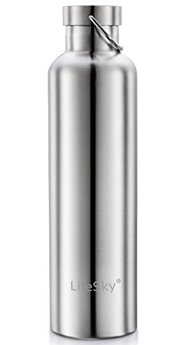 LifeSky Stainless Steel Water Bottle Double Wall Vacuum Insulated Leak Proof Sports Bottle Keep liquid Cold for up to 24 Hours Wide Mouth 34 OZ
