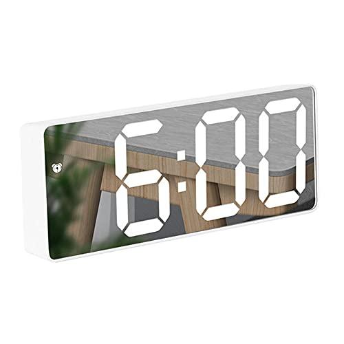 Reloj Digital Creativo con Pantalla de Espejo LED,Control de Voz Tiempo de Repetición Visualización de Fecha y Temperatura Reloj Despertador Rectangular/Circular