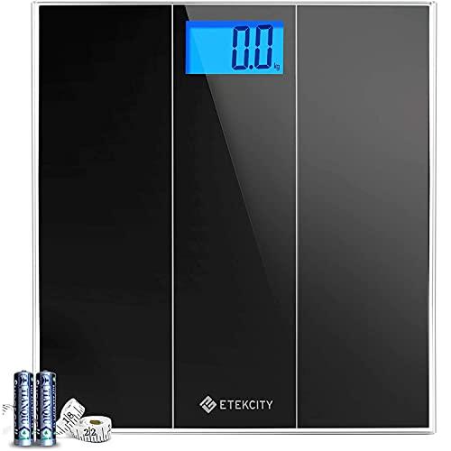 Etekcity Báscula de Baño Digital con Tecnología Step-On, 180 kg/ 400 lbs, Gran Pantalla LCD Retroiluminada (74×38mm) con Dígitos Grandes, Auto-On/Off, Cinta Métrica y Baterías Incluidas, 4074S