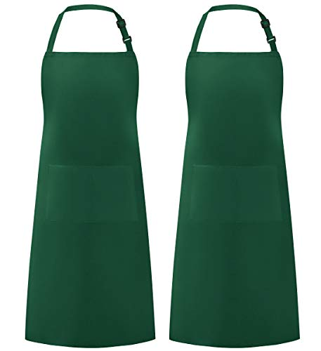 Syntus 2 Pack Thicker Version Adjustable Bib Apron Waterdrop Resistant with 2 Pockets Unisex Cooking Kitchen Aprons for Women Men Chef, Dark Green