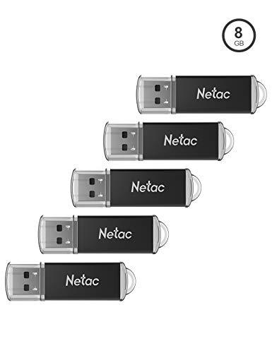 Netac 8G USB Stick, 5 Stück USB 2.0 Flash Laufwerk, Metall Design Speicherstick mit LED leuchtet, Memory Stick für PC/Laptop/TV/Autoradio
