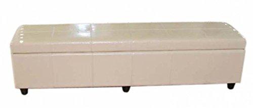 PEGANE Banc de Rangement Kriens XXL en Cuir Coloris créme, Dim: 180 x 45 x 45cm