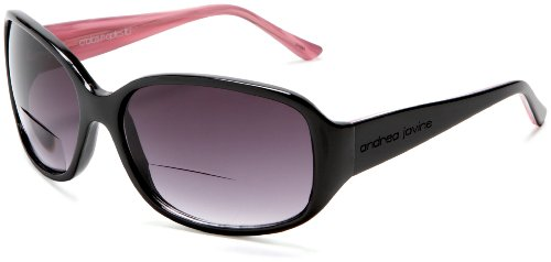 Andrea Jovine Women's A378S Rectangular Reading Sunglasses, Black/Pink Frame/Gradient Brown Lens, One Size + 3