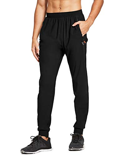 BALEAF EVO Men's Cool Jogger Athletic Quick Dry Workout Running Pants with Zipper Pockets for Home Gym Black M