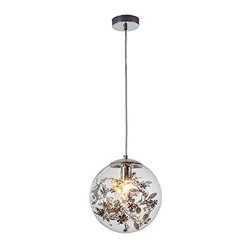 JIANAND Lámpara colgante de bola de cristal moderna Lámpara colgante de techo de flor interior de acero inoxidable Lámpara colgante E27 Accesorio de iluminación ajustable Restaurante Cafe Bar Iluminac