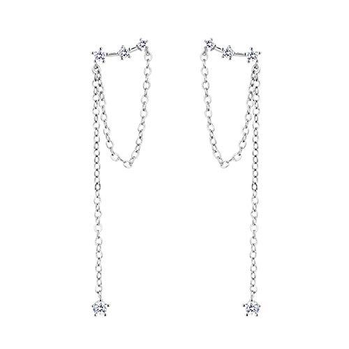 JIEERCUN Pendientes de Cristal de Plata, joyería de Moda para Mujeres, Pendientes Largos, Pendientes exquisitos de Mujeres Pendientes Mujer Plata (Color : Silver)