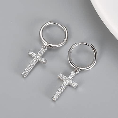 liuliu Pendientes Colgantes con Colgante de Cruz gótica de Plata de Ley 925, Pendientes Circularespequeños Simples de Color Dorado para Mujer,joyería
