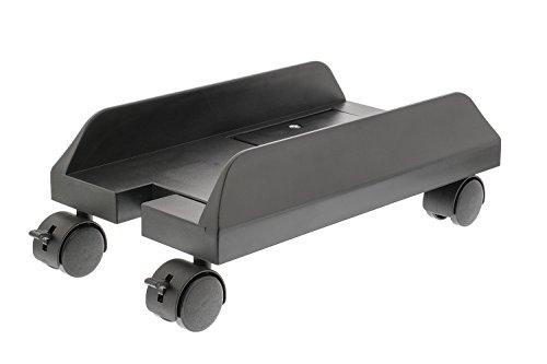 Eurosell - Premium Tower Rollwagen Rollwagen Computer Pc Desktop Ständer mit Rollen Universal Plastik Metall Schwarz Halter Halterung schwarz - ausziehbar Universal Computerständer