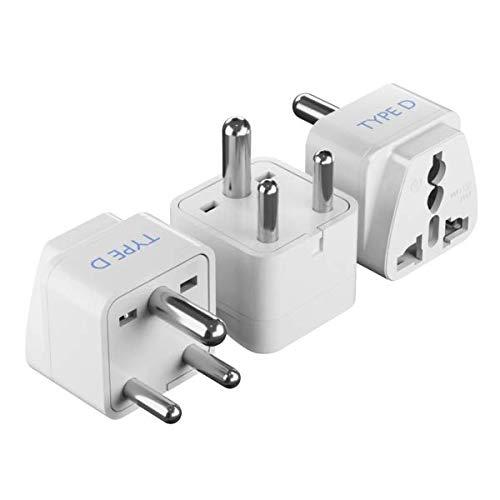 Ceptics India Travel Plug Adapter (Type D) for Pakistan, Nepal, Bangladesh - 3 Pack [Grounded & Universal] (GP-10-3PK)