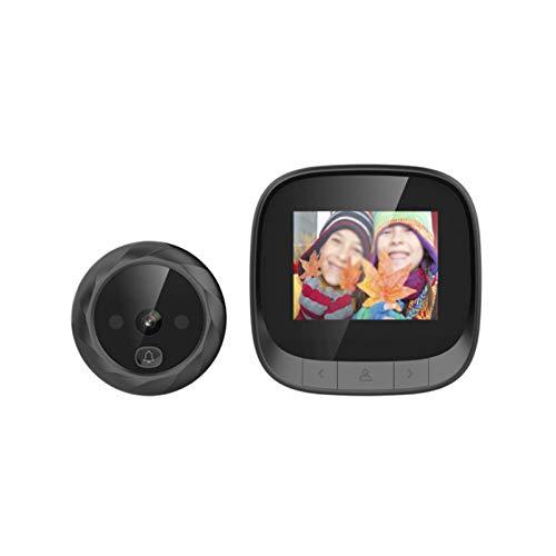 QinWenYan Timbre de Video 2.4 Pulgadas Visual Cat Eye Doorbell Camera Preghola Electrónica Visor De Puerta para Casa (Color : Black, Size : 12.3x10.4x7cm)