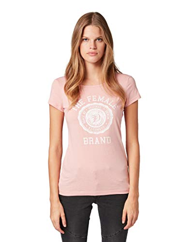 TOM TAILOR Denim Damen Basic Crew-Neck T-Shirt, 11056-Dusky Flower Pink, L