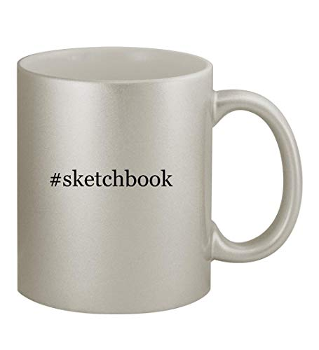 #sketchbook - 11oz Hashtag Silver Coffee Mug Cup, Silver